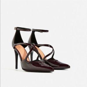 Zara Strappy Patent Finish Heels, Burgundy